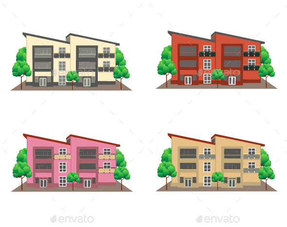 GraphicRiver Front View of Houses 10894512