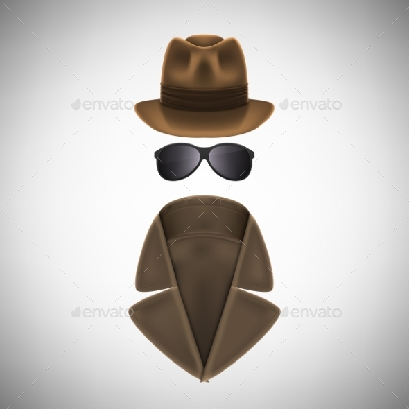 GraphicRiver Private Eye Hat Glasses and Raincoat 10894847