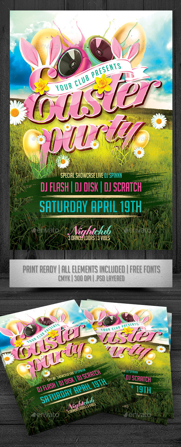 GraphicRiver Easter Party Flyer 10895070