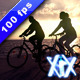 Couple Cycling At Sunset - VideoHive Item for Sale