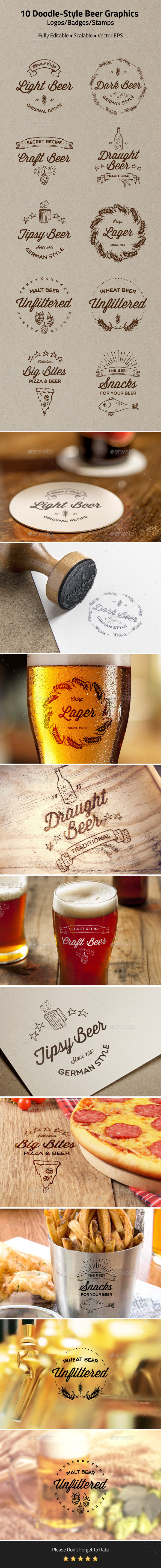GraphicRiver 10 Doodle-Style Beer Badges Logos Stamps 10895309