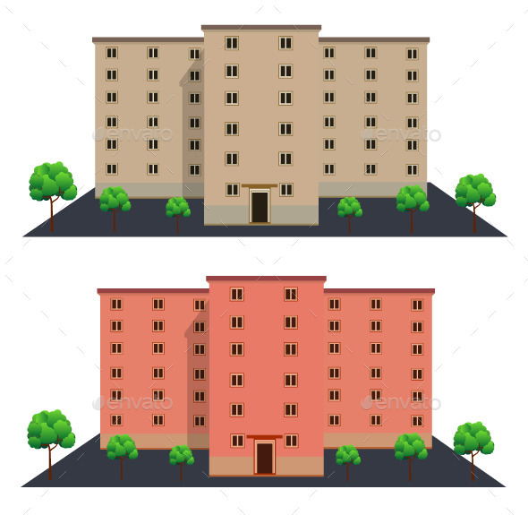 GraphicRiver Front View of Buildings 10895539