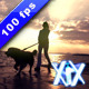Woman And Dog Walking At Sunset - VideoHive Item for Sale