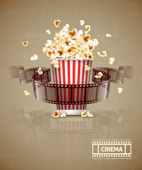 GraphicRiver Jumping Popcorn and Movie Film Tape 10895790