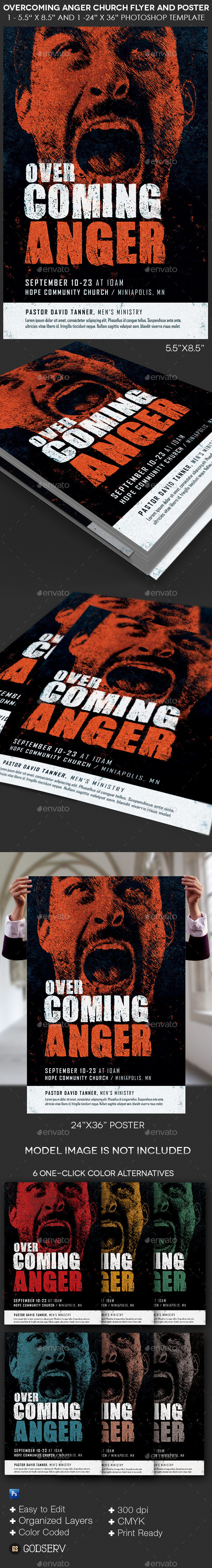 GraphicRiver Overcoming Anger Church Flyer and Poster Template 10895849