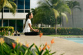 Relax Business Woman Yoga Lotus Position Outside Office Building - PhotoDune Item for Sale