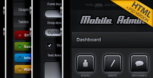 Mobile Admin HTML