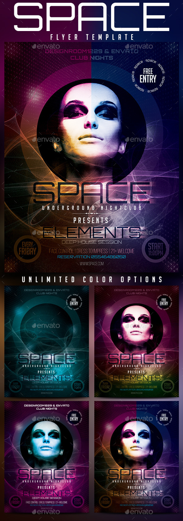 GraphicRiver Space Club Flyer Template 10896110