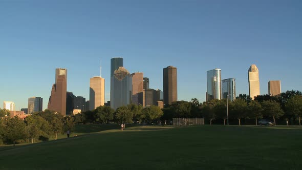 Houston Skyline In Late Afternoon Wide Shot