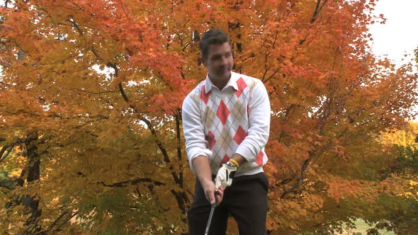 Male Golfer On An Autumn Day 3 Of 3