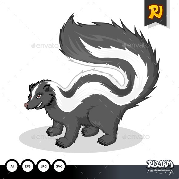 GraphicRiver Striped Skunk Cartoon 10862573