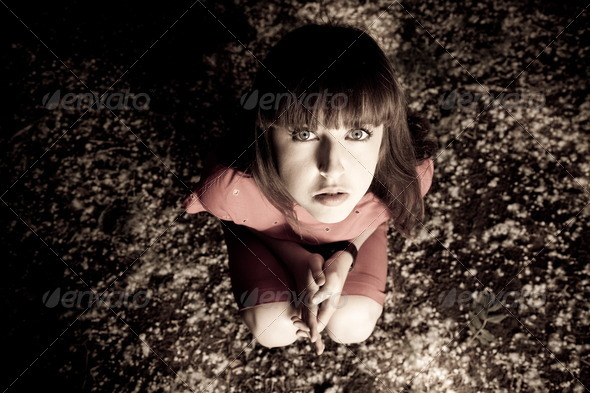 Woman Sitting At The Ground - Stock Photo - Images