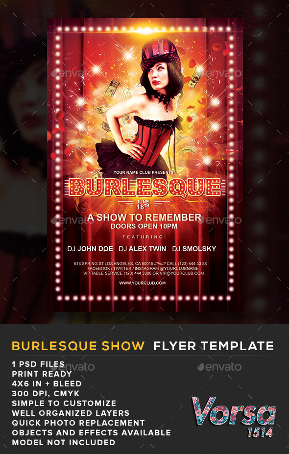 GraphicRiver Burlesque Show Flyer Template 10898795