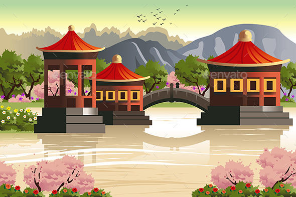 GraphicRiver Background of Chinese Temples 10898930