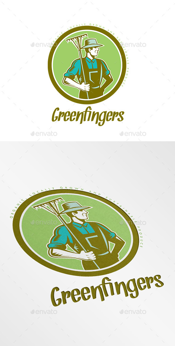 GraphicRiver Greenfingers Local Organic Produce Logo 10898936
