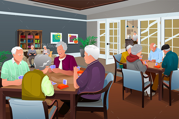 GraphicRiver Elderly People Playing Cards 10899009