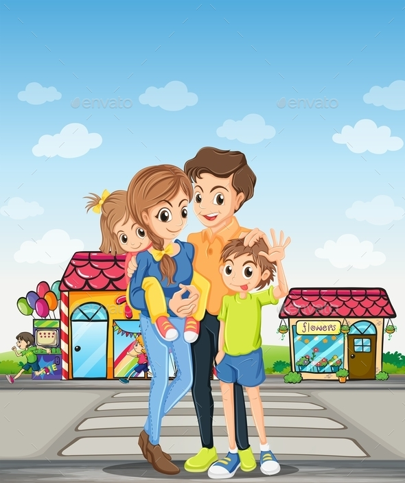 GraphicRiver Family on a Walk 10899401