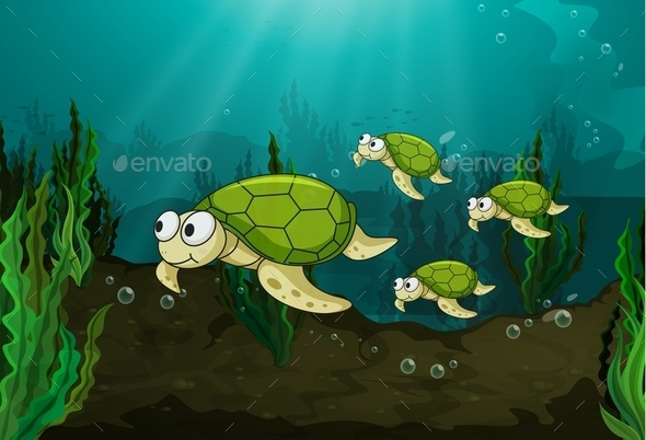 GraphicRiver Turtles Under the Sea 10901008
