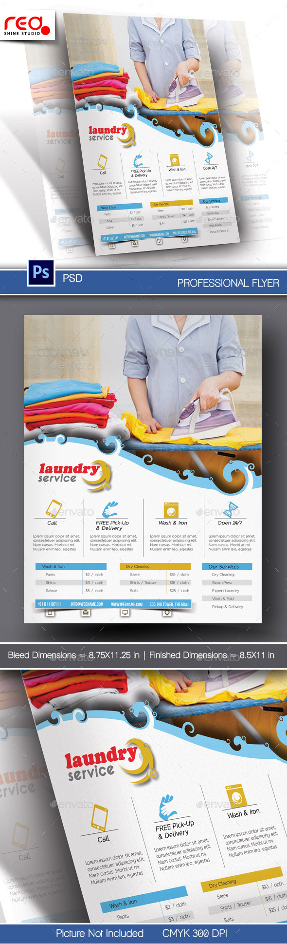 GraphicRiver Laundry Service Flyer & Poster Template 10901339