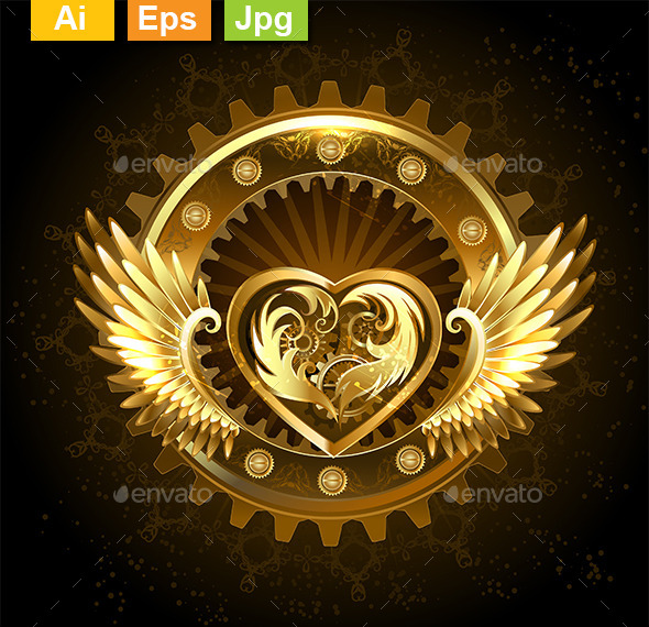 GraphicRiver Mechanical Heart with Wings 10901341