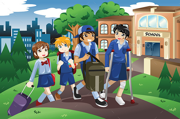 GraphicRiver Kids Walking to School 10901600