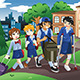 Kids Walking to School  - GraphicRiver Item for Sale