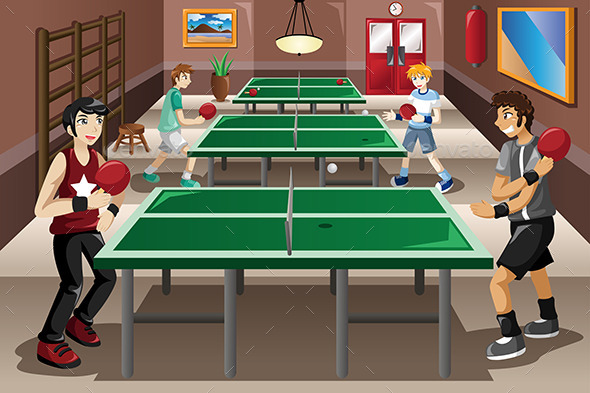 GraphicRiver Teenagers Playing Ping Pong 10901602
