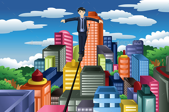 GraphicRiver Businessman Balancing on Rope 10901607