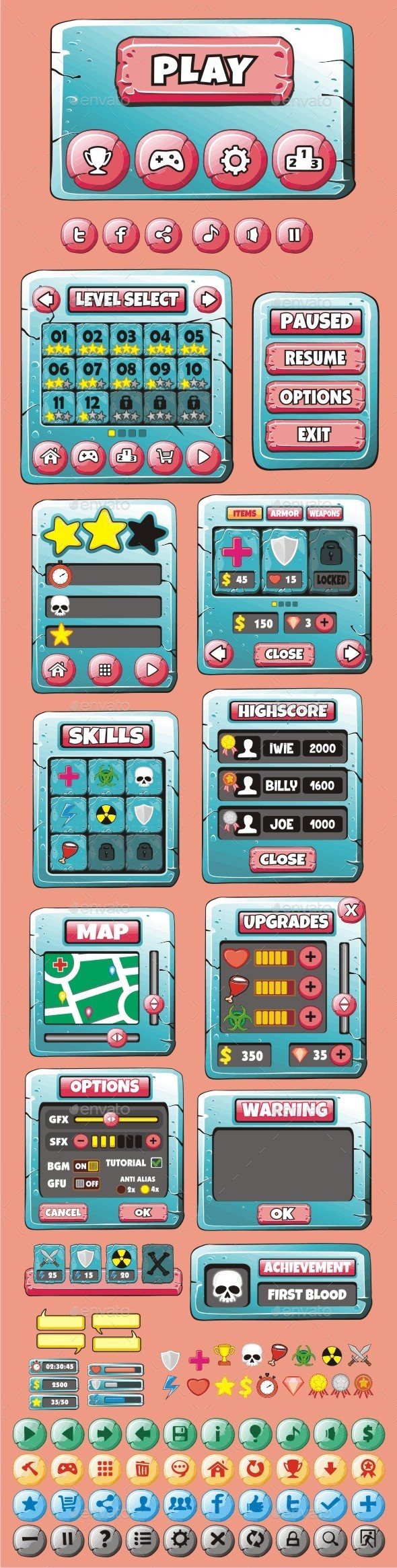 GraphicRiver cartoon game gui pack 25 10901973