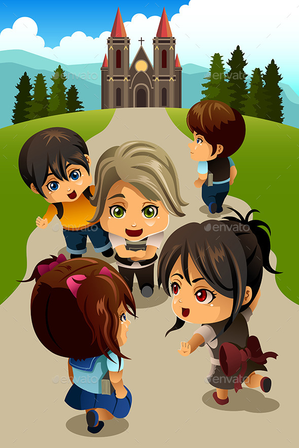 GraphicRiver Kids going to Church 10902195