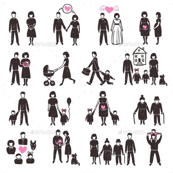 GraphicRiver Family Icon Set 10902215