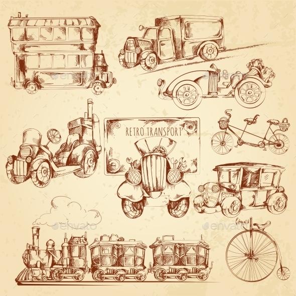 GraphicRiver Vintage Transport Sketch 10902216