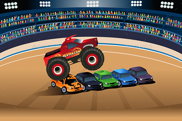 GraphicRiver Monster Truck Jumping 10902230
