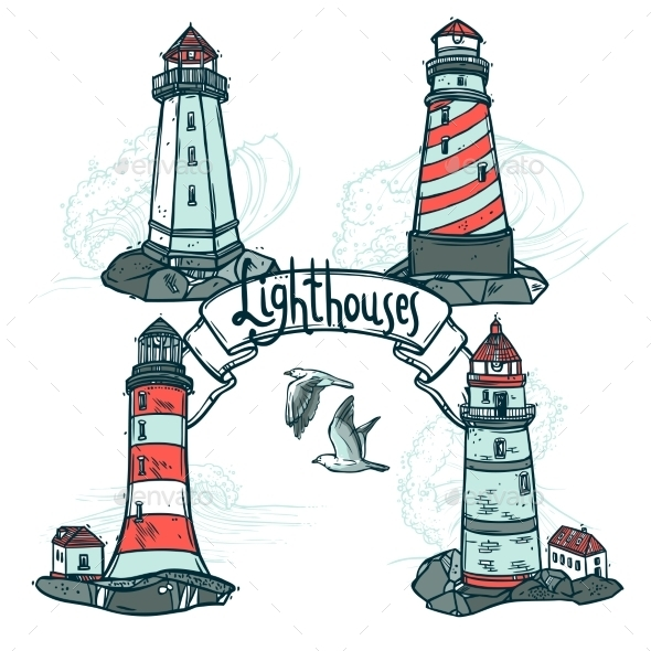 GraphicRiver Lighthouse Sketch Set 10902245