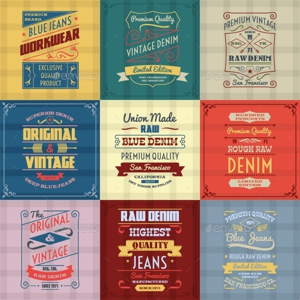 GraphicRiver Denim Jeans Labels 10902329