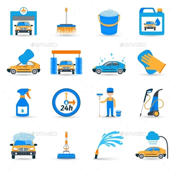 GraphicRiver Car Wash Symbols 10902330
