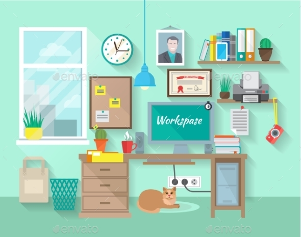 GraphicRiver Workplace In Room 10902347