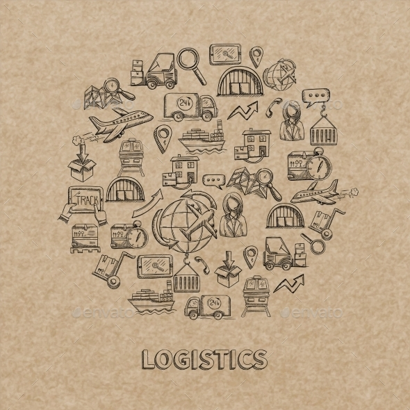 GraphicRiver Logistic Sketch Icons 10903553