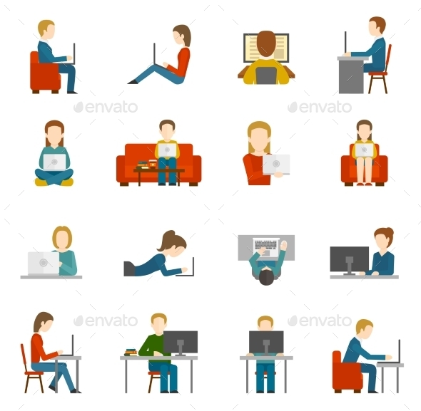 GraphicRiver Computer Working Flat 10903588
