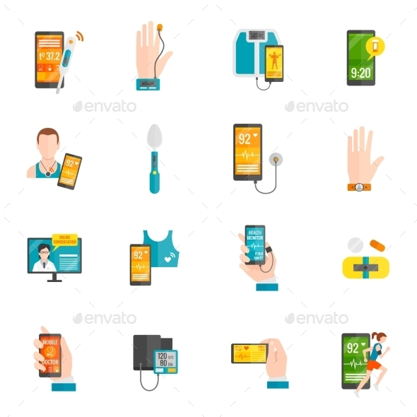 GraphicRiver Digital Health Flat Icons 10903594