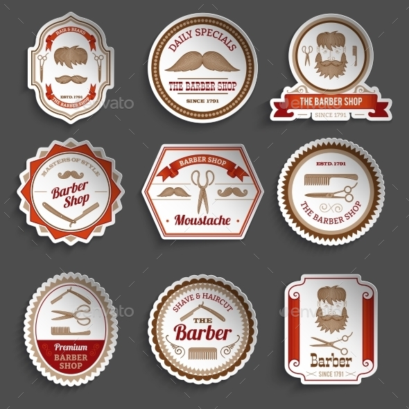 GraphicRiver Barber Shop Stickers 10903740
