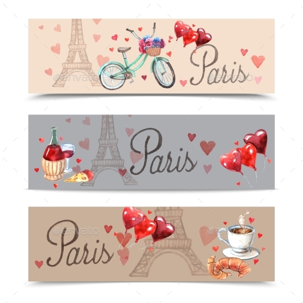 GraphicRiver Paris Watercolor Banners 10903772