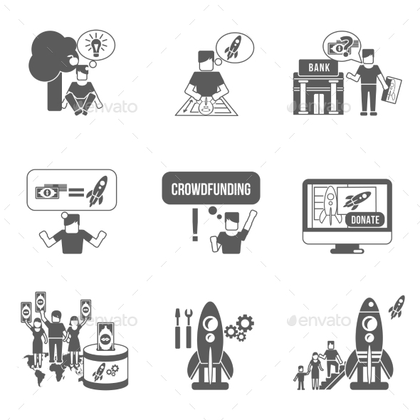 GraphicRiver Crowdfunding Icons Set 10903788