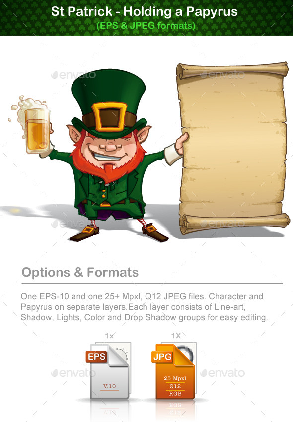 GraphicRiver St Patrick Holding a Papyrus 10904146