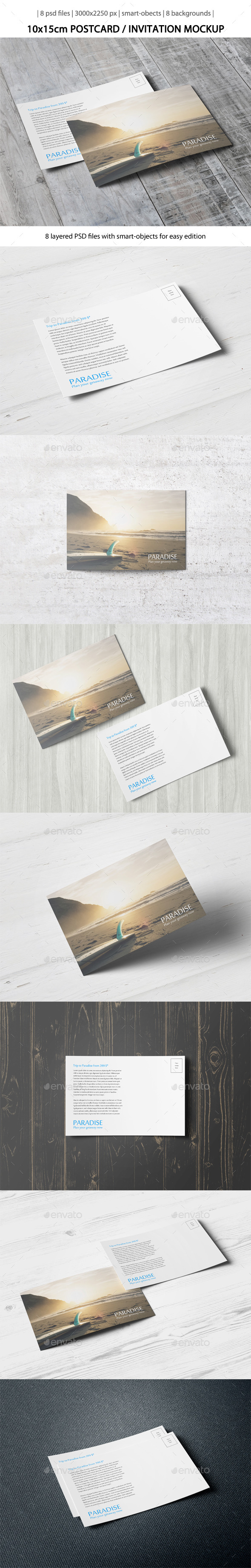 GraphicRiver Postcard Invitation Mock-Up [10x15cm] 10799810