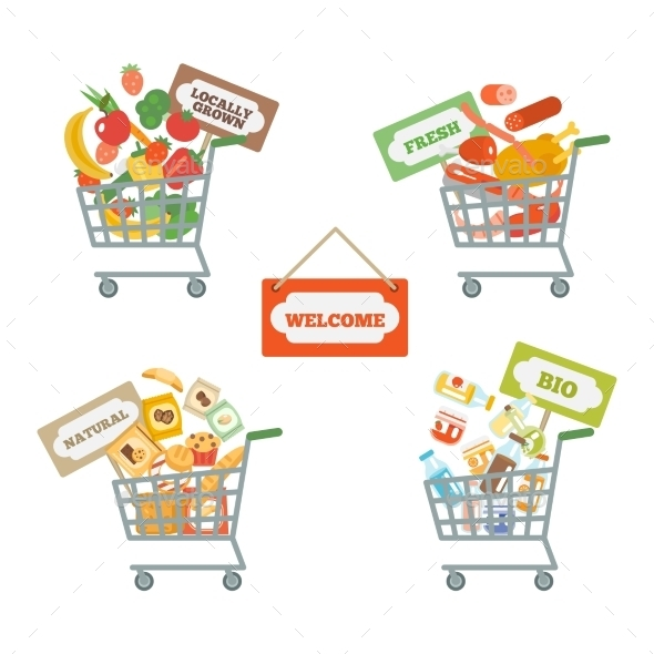 GraphicRiver Supermarket Cart With Food 10904489