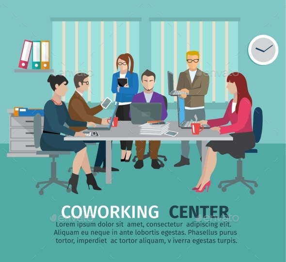 GraphicRiver Coworking Center Concept 10904505