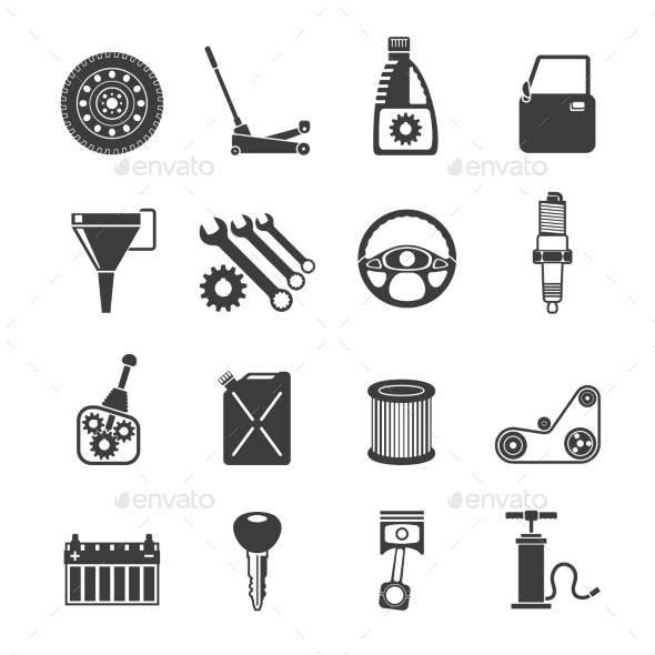 GraphicRiver Auto Service Icons Black 10904669