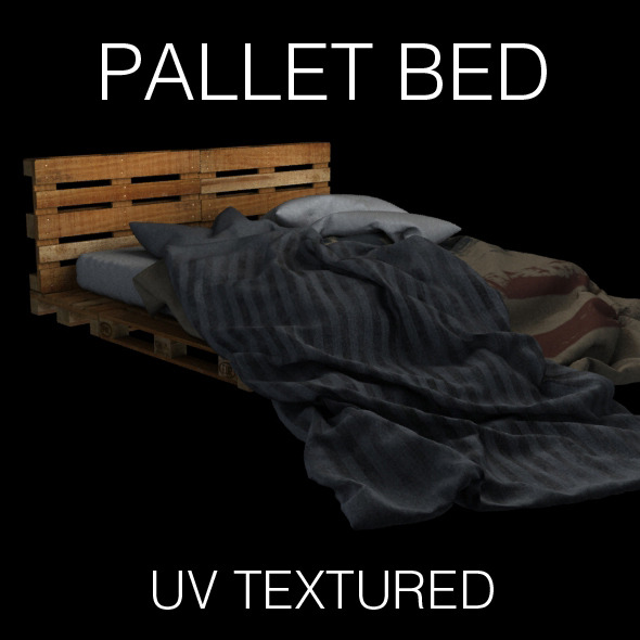 Pallet bed for bedroom interior