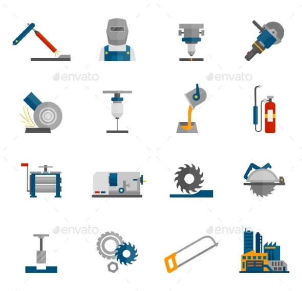 GraphicRiver Metal-working Icon Flat 10904681